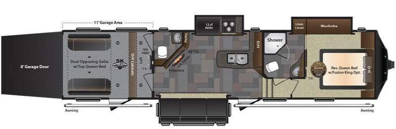 Floorplan - 2016 Keystone RV Fuzion 371