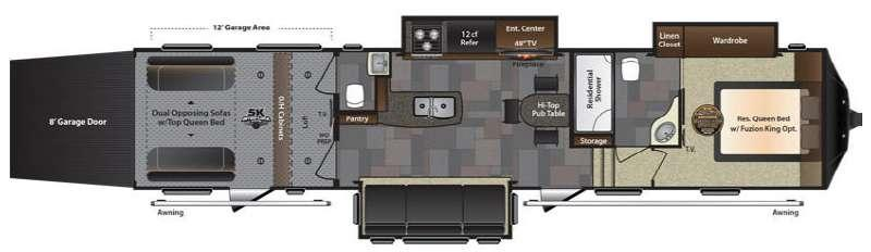 Floorplan - 2016 Keystone RV Fuzion 401 Chrome