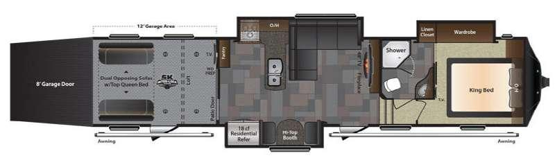 Floorplan - 2016 Keystone RV Fuzion 404 Chrome