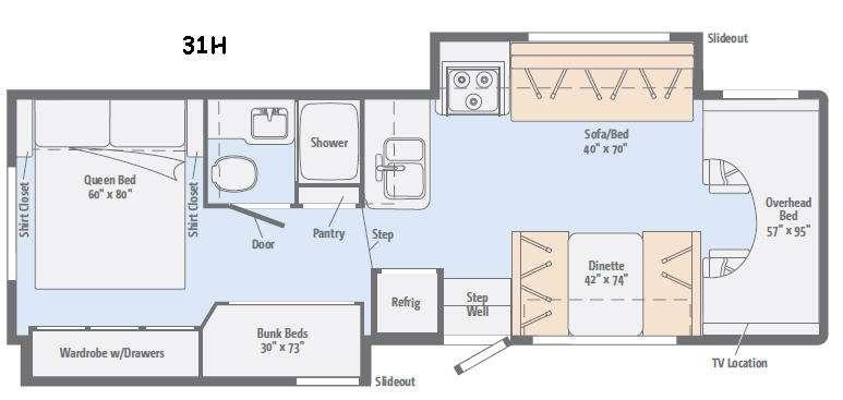 Floorplan - 2016 Winnebago Minnie Winnie 31H