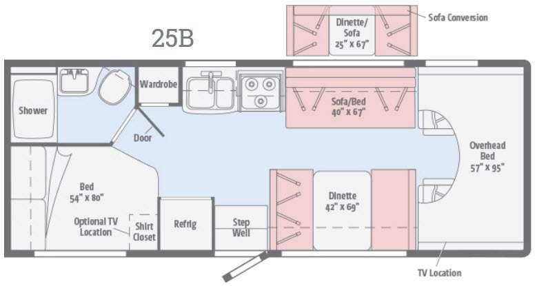 Floorplan - 2016 Itasca Spirit 25B
