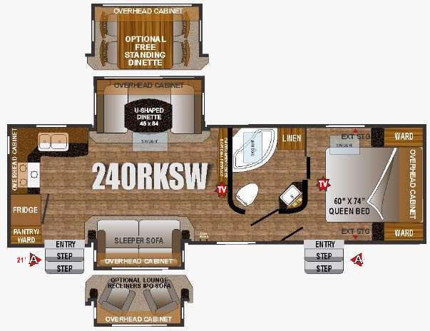 Floorplan - 2016 Outdoors RV Wind River 240RKSW