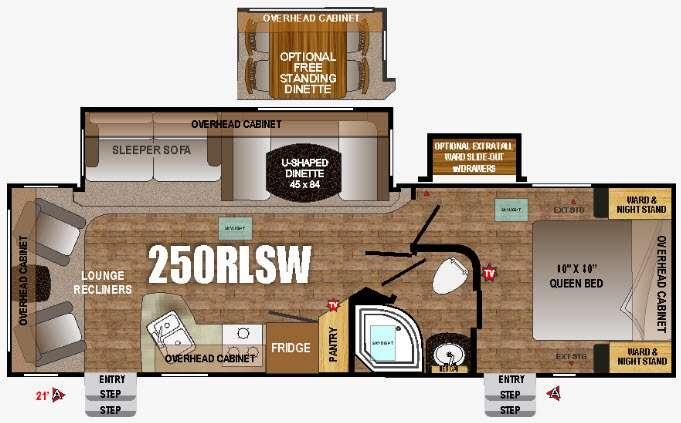 Floorplan - 2016 Wind River 250RLSW Travel Trailer