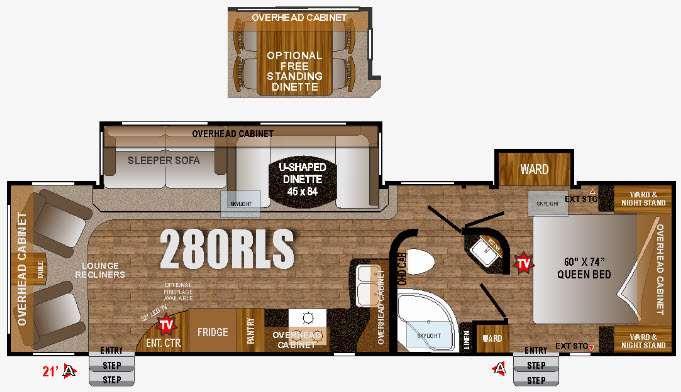 Floorplan - 2016 Wind River 280RLS Travel Trailer