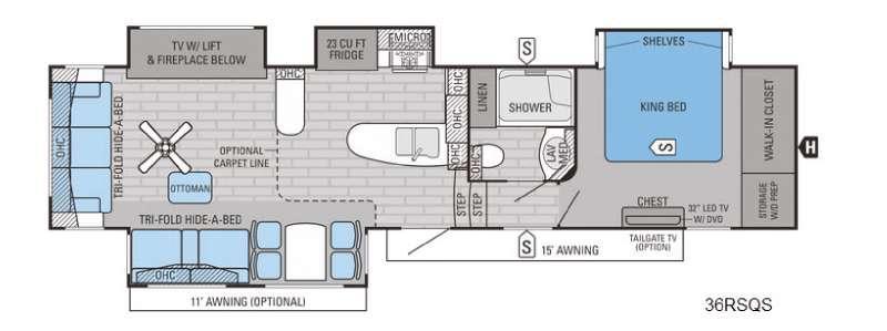 Pinnacle 36RSQS Floorplan Image
