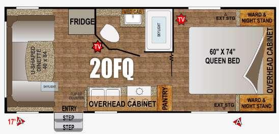 Floorplan - 2016 Outdoors RV Creek Side 20FQ