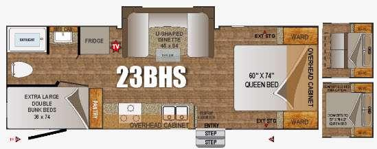 Floorplan - 2016 Outdoors RV Creek Side 23BHS