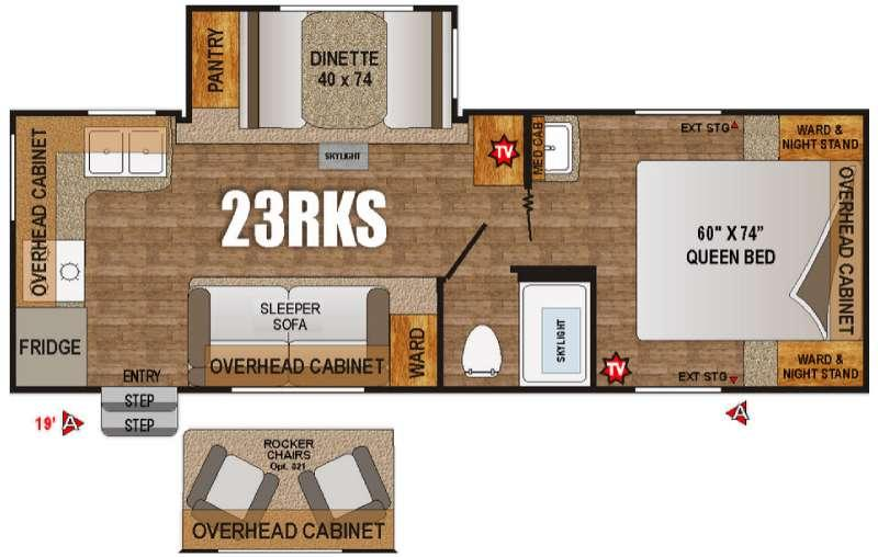 Floorplan - 2016 Outdoors RV Creek Side 23RKS