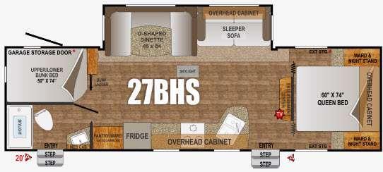 Floorplan - 2016 Outdoors RV Creek Side 27BHS