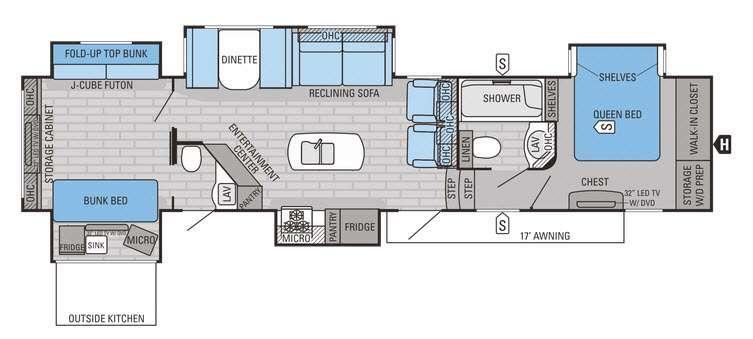 Floorplan - 2016 Eagle Premier 375BHFS Fifth Wheel