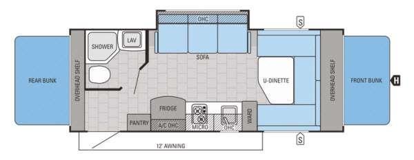 Jay Feather SLX 19XUD Floorplan Image