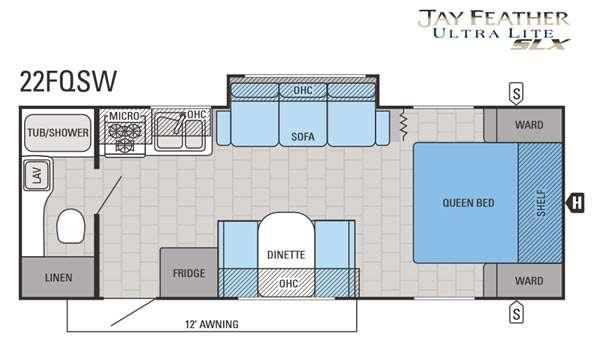 Jay Feather SLX 22FQSW Floorplan Image