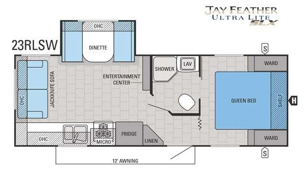Jay Feather SLX 23RLSW Floorplan Image