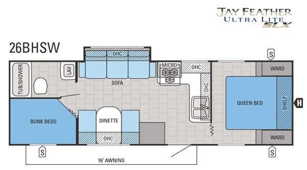 Jay Feather SLX 26BHSW Floorplan Image