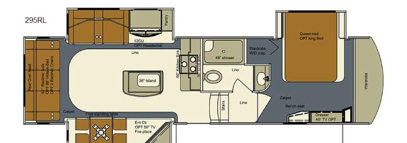 Floorplan - 2016 EverGreen RV Bay Hill 295RL