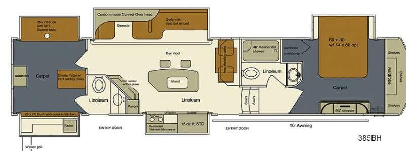 Floorplan - 2016 EverGreen RV Bay Hill 385BH