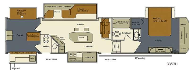 Floorplan - 2016 EverGreen RV Bay Hill 385BH