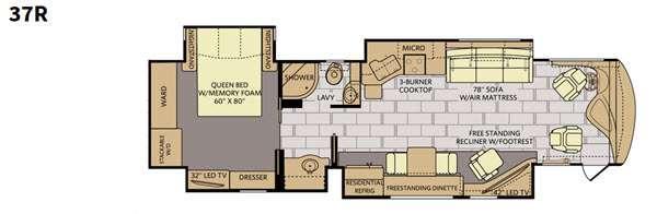Floorplan - 2016 Fleetwood RV Discovery 37R