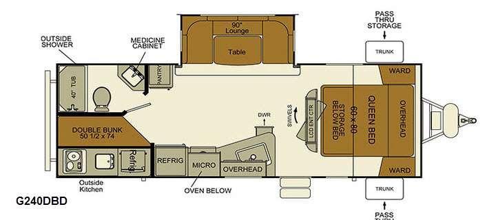 Floorplan - 2016 EverGreen RV i-Go G240DBD
