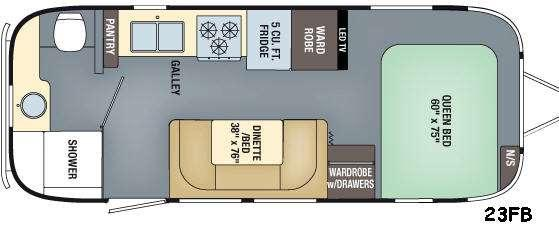 Floorplan - 2016 Airstream RV Flying Cloud 23FB