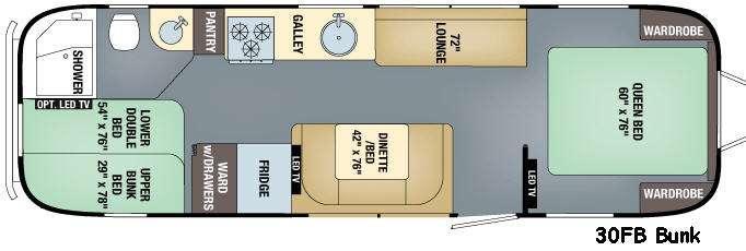Floorplan - 2016 Airstream RV Flying Cloud 30FB Bunk