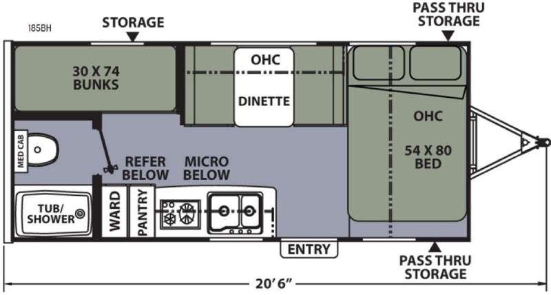 Floorplan - 2016 Coachmen RV Apex Nano 185BH