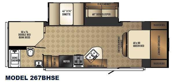 Floorplan - 2016 Palomino SolAire Ultra Lite 267BHSE
