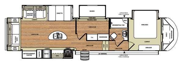 Floorplan - 2016 Forest River RV Wildwood Heritage Glen 368RLBHK