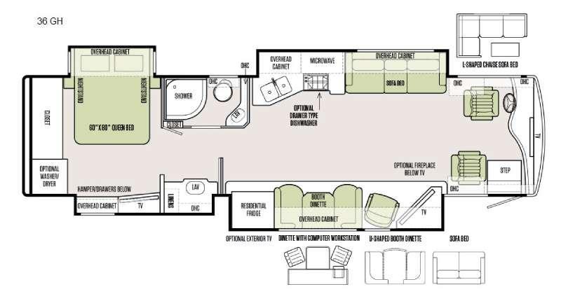 Floorplan - 2016 Tiffin Motorhomes Phaeton 36 GH