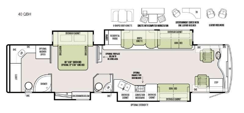 Floorplan - 2016 Tiffin Motorhomes Phaeton 40 QBH