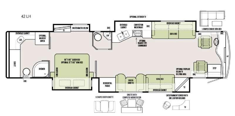 Floorplan - 2016 Tiffin Motorhomes Phaeton 42 LH