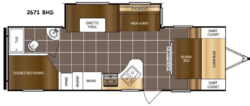 Floorplan - 2016 Prime Time RV Tracer 2671BHS