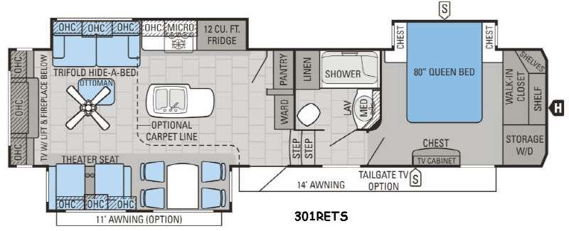 Floorplan - 2016 Jayco North Point 301RETS