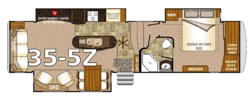 Floorplan - 2016 Northwood Arctic Fox 35-5Z