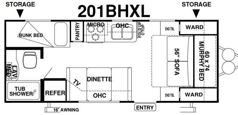 Wildwood X-Lite 201BHXL Floorplan Image