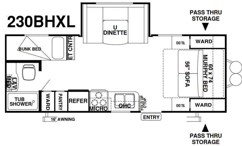 Wildwood X-Lite 230BHXL Floorplan Image