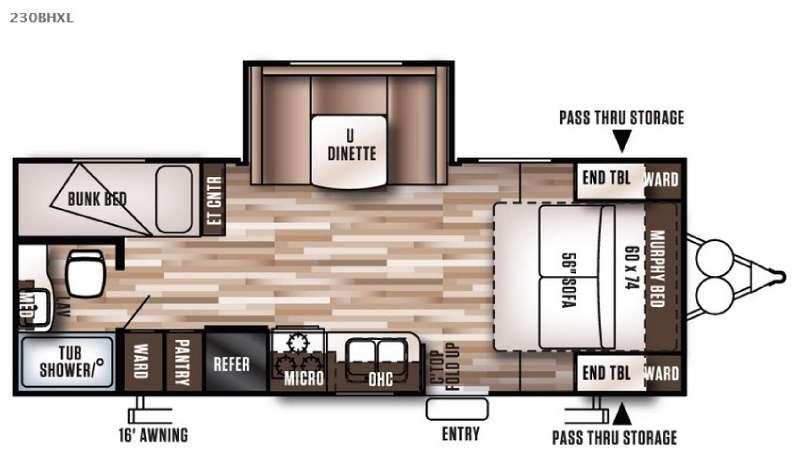 Floorplan - 2016 Forest River RV Wildwood X-Lite 230BHXL