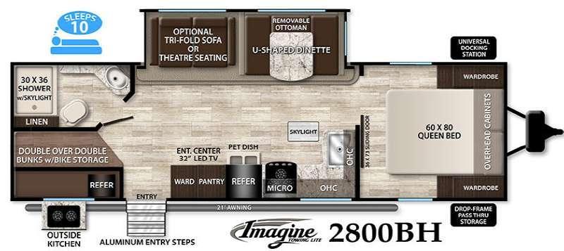 Floorplan - 2016 Grand Design Imagine 2800BH