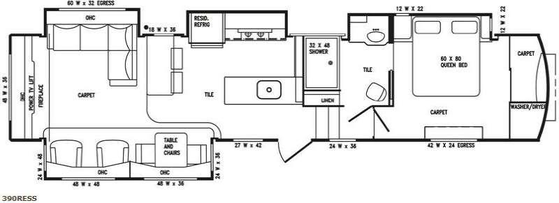 Floorplan - 2016 DRV Luxury Suites Tradition 390RESS