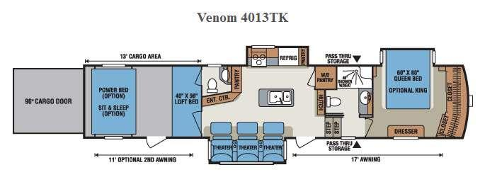 Floorplan - 2016 KZ Venom 4013TK