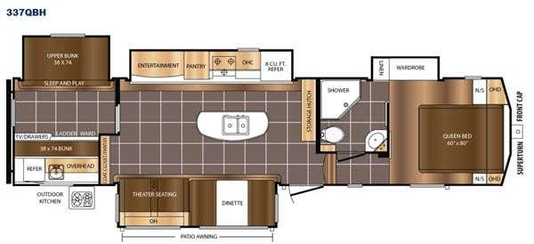 Floorplan - 2016 Prime Time RV Crusader 337QBH