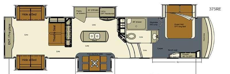 Floorplan - 2016 EverGreen RV Bay Hill 375RE
