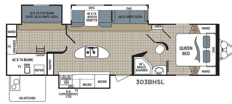 Floorplan - 2016 Dutchmen RV Kodiak Express 303BHSL