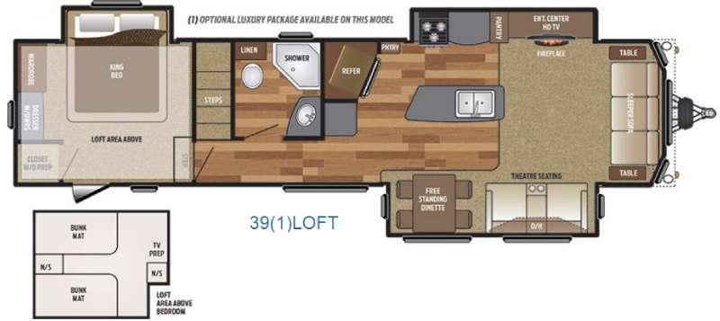 Floorplan - 2016 Keystone RV Retreat 39LOFT