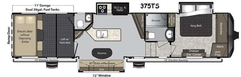 Floorplan - 2016 Keystone RV Raptor 375TS