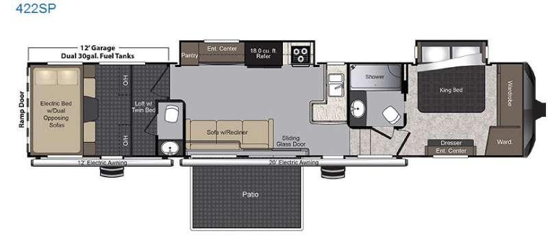 Floorplan - 2016 Keystone RV Raptor 422SP