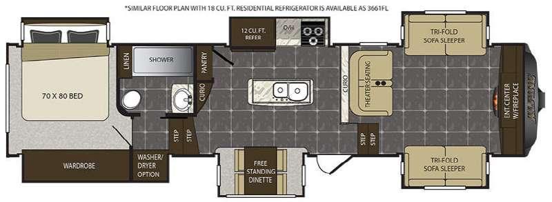 Alpine 3660FL Floorplan Image