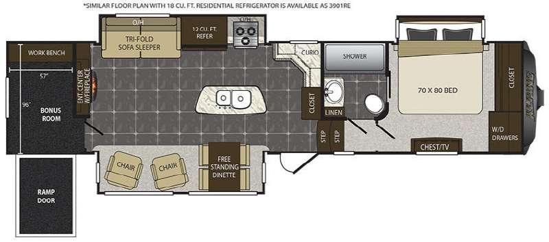 Floorplan - 2016 Keystone RV Alpine 3901RE