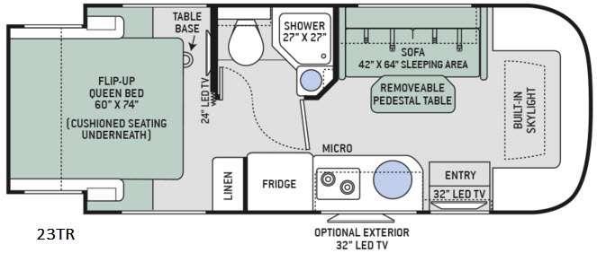 Floorplan - 2016 Thor Motor Coach Gemini 23TR