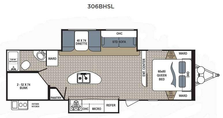 Floorplan - 2016 Dutchmen RV Kodiak Ultimate 306BHSL